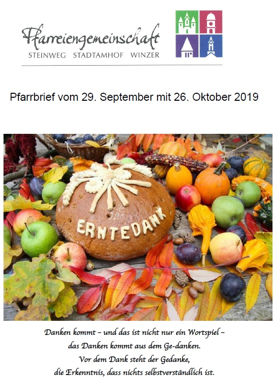 Pfarrbrief September Oktober 2019